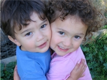 A few weeks after their tandem nursing days ended:  Simon, 2; Anna, almost 4